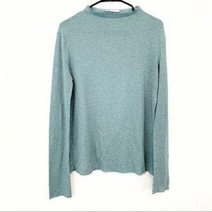 Zara Teal High Neck Lightweight Knit Sweater